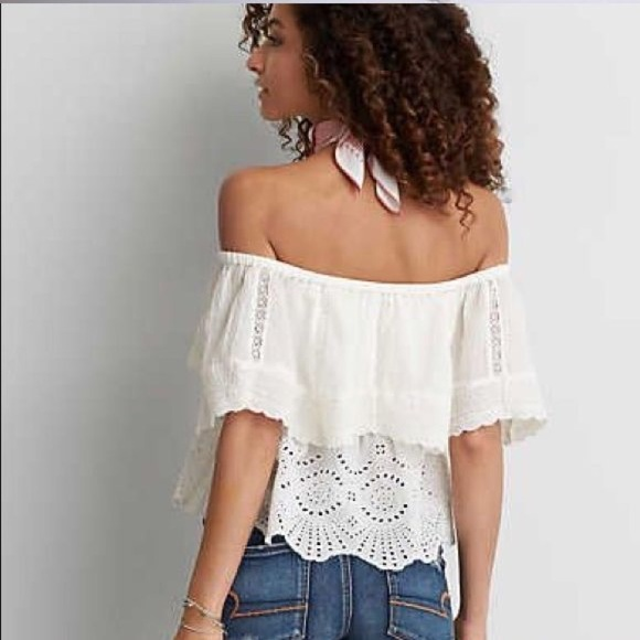 5cbf3f726fa94 American Eagle Outfitters Tops - Off shoulder American eagle eyelet top